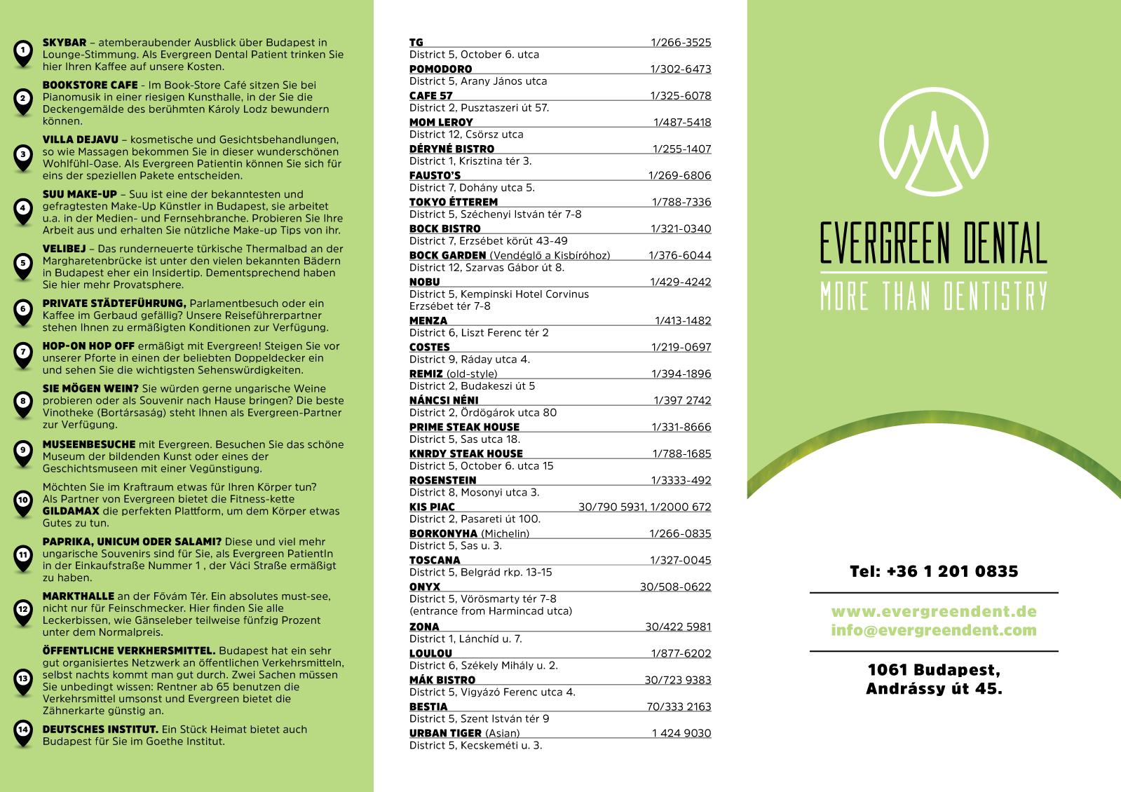 Eine Karte mit allen Partnern von Evergreen Dental